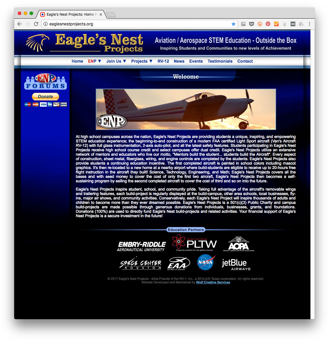 Eagle's Nest Projects website